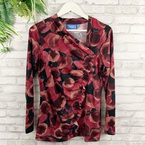 Simply Vera • Red Floral Ruffle Long Sleeve Blouse